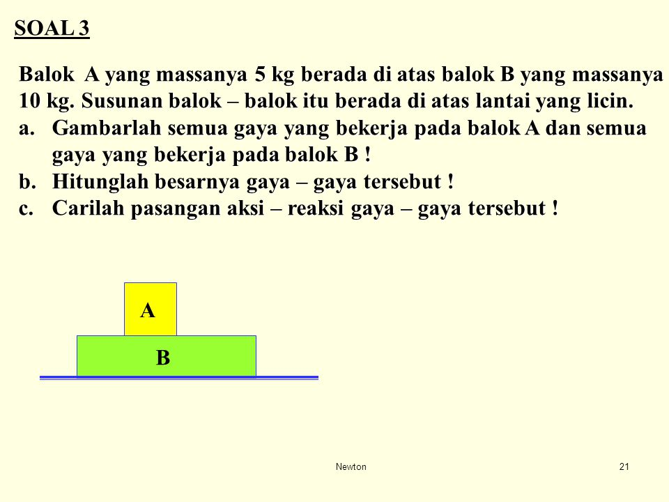 Newton20 Bab III : 5 Anda tahu bahwa massa Anda adalah 75 kg. Akan tetapi ketika Anda berdiri di atas timbangan di dalam lift terlihat bahwa massa And