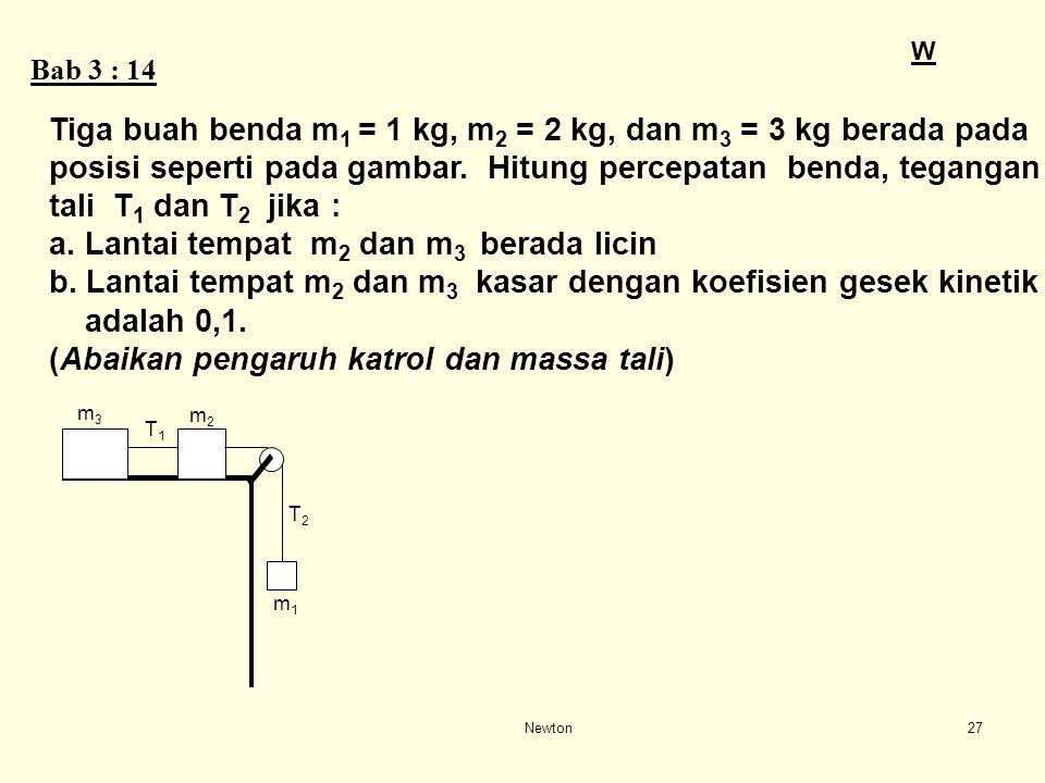 Newton26 Balok A bermassa 10 kg berada di atas lantai akan ditarik oleh gaya F = 80 N dengan menggunakan tali penarik yang arahnya mendatar. Balok B b