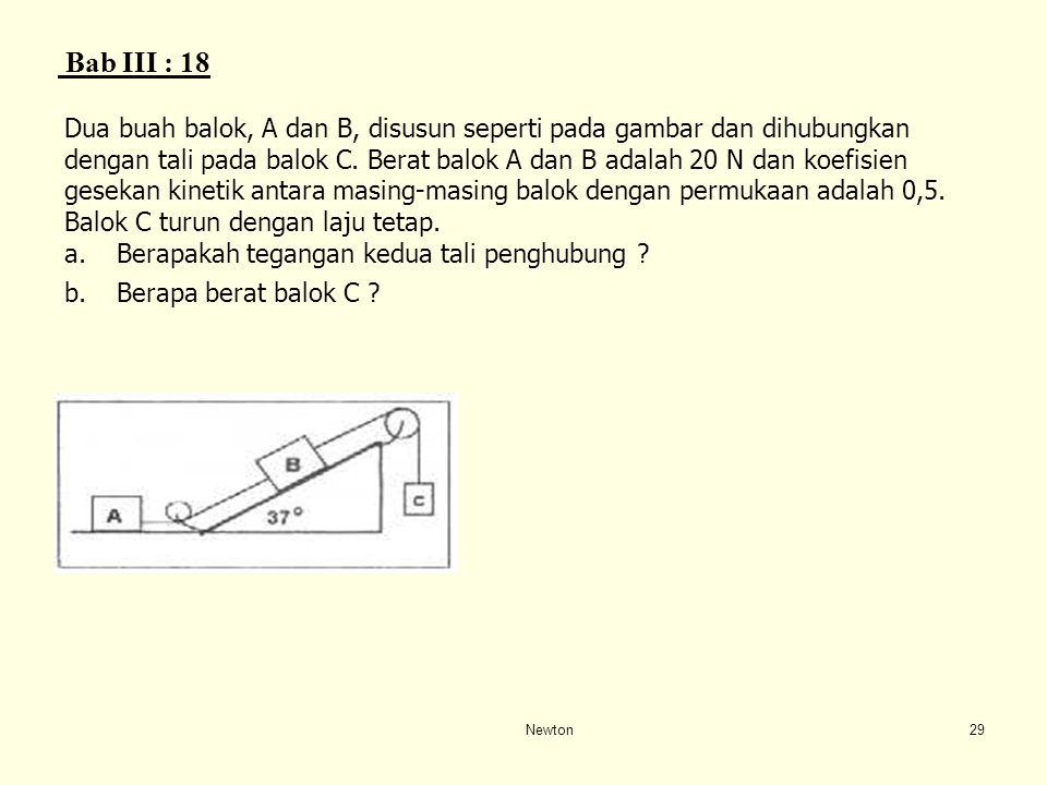 Newton28 Bab 3 : 17 W Sebuah balok seberat 100 N diletakkan di atas bidang miring dengan sudut kemiringan 30 o dan dihubungkan dengan balok lain seber