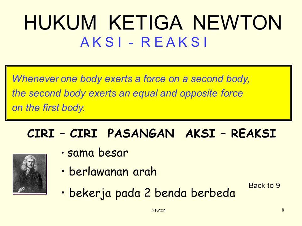 Newton7 Jika kita memukul (atau menarik) sebuah benda / orang, maka benda itu (orang) akan memukul ( atau menarik ) kita balik