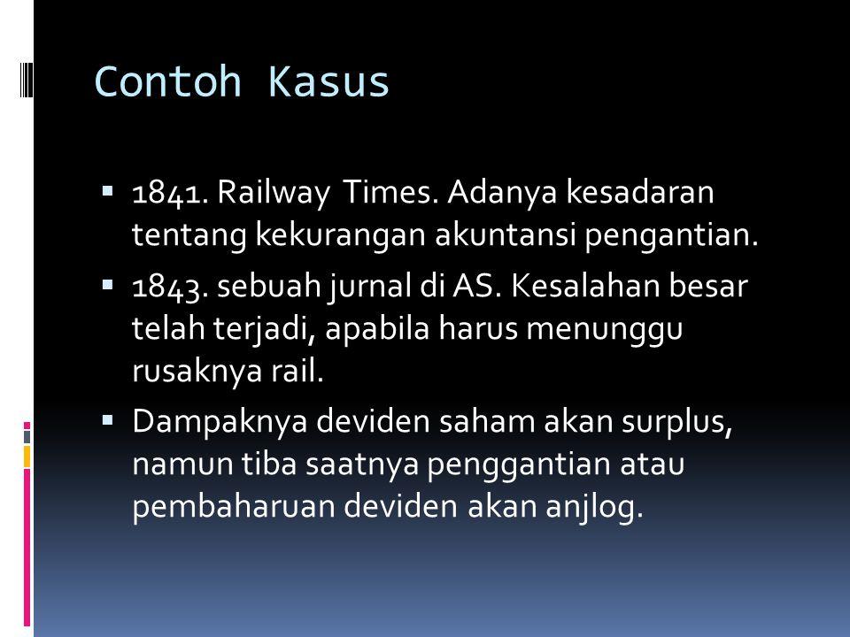 Contoh Kasus  1841. Railway Times. Adanya kesadaran tentang kekurangan akuntansi pengantian.