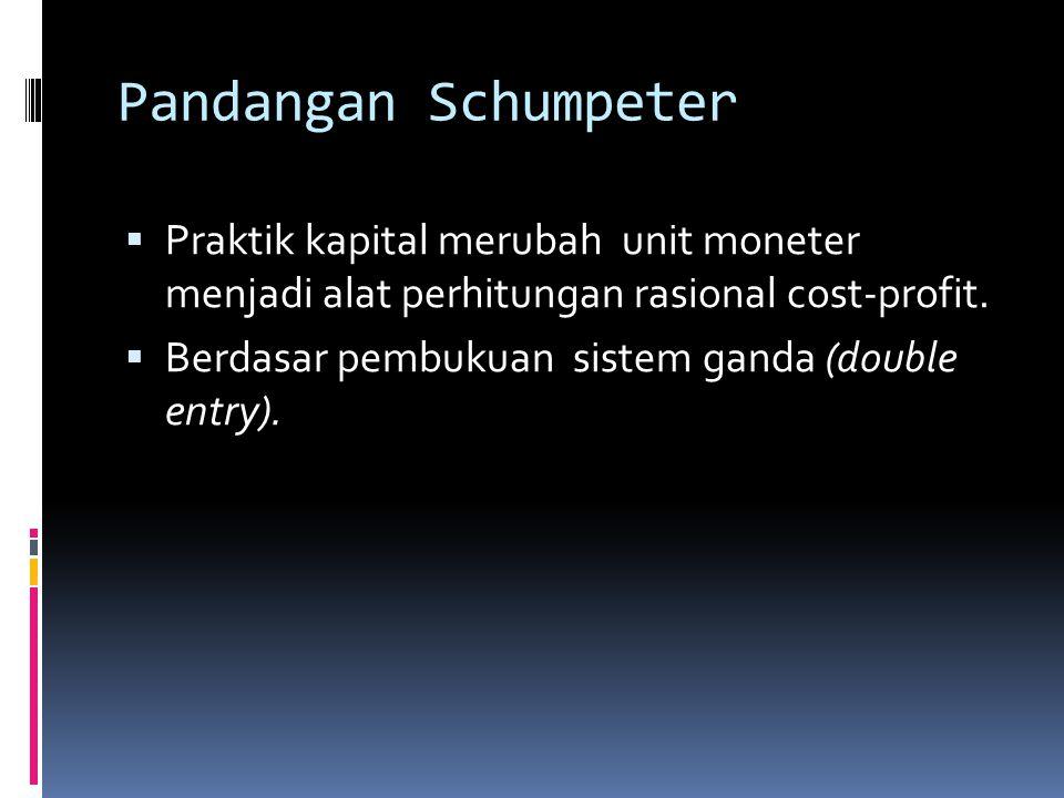 Pandangan Schumpeter  Praktik kapital merubah unit moneter menjadi alat perhitungan rasional cost-profit.