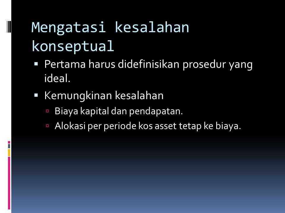 Mengatasi kesalahan konseptual  Pertama harus didefinisikan prosedur yang ideal.