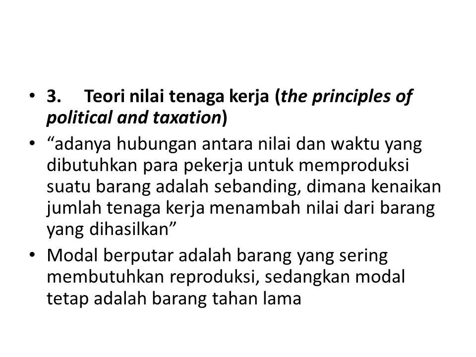 """3. Teori nilai tenaga kerja (the principles of political and taxation) """"adanya hubungan antara nilai dan waktu yang dibutuhkan para pekerja untuk memp"""