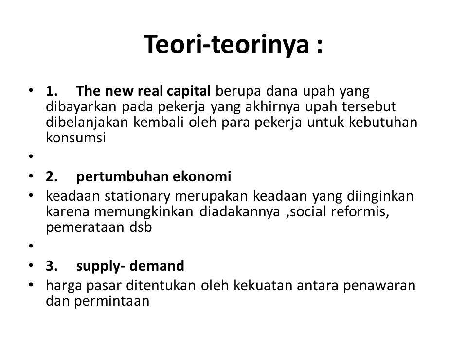 Teori-teorinya : 1. The new real capital berupa dana upah yang dibayarkan pada pekerja yang akhirnya upah tersebut dibelanjakan kembali oleh para peke