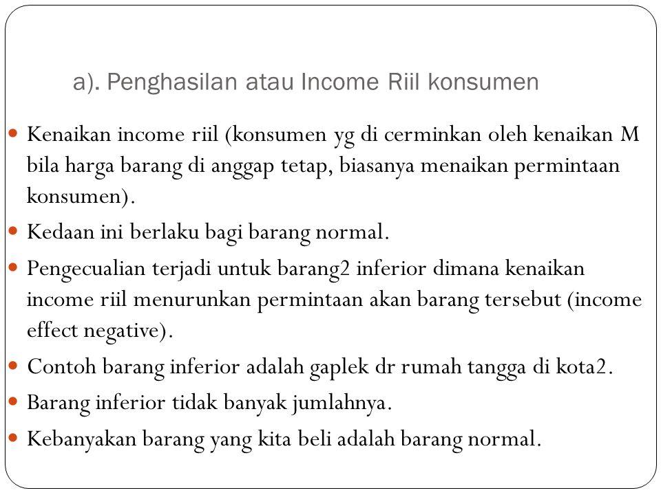 a). Penghasilan atau Income Riil konsumen Kenaikan income riil (konsumen yg di cerminkan oleh kenaikan M bila harga barang di anggap tetap, biasanya m