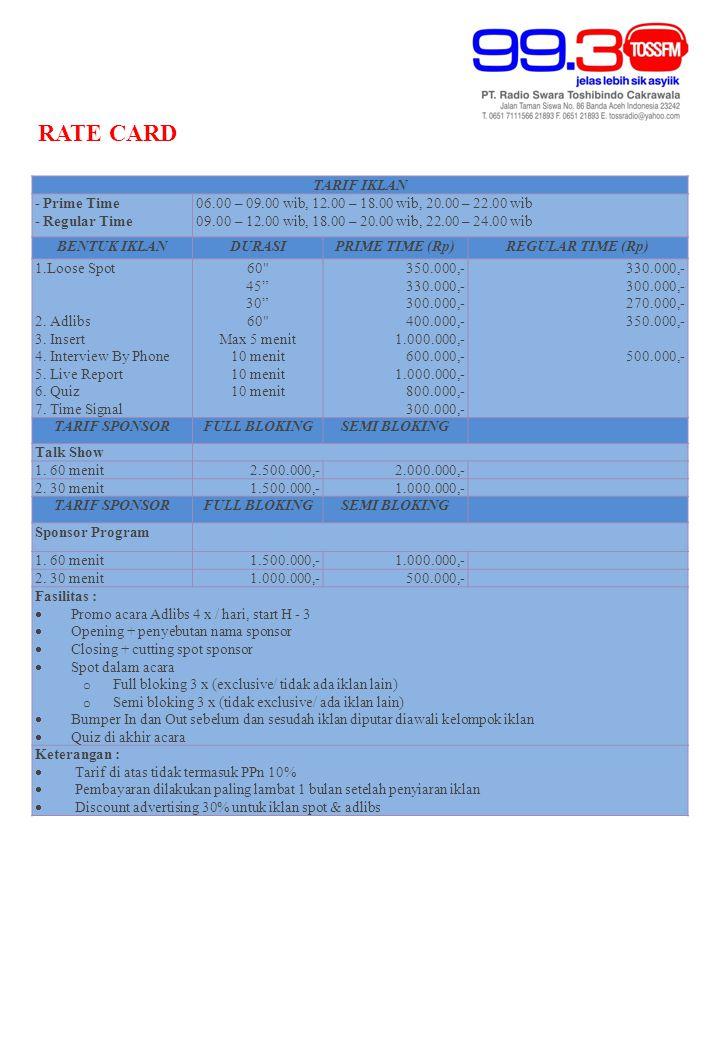 TARIF IKLAN - Prime Time - Regular Time 06.00 – 09.00 wib, 12.00 – 18.00 wib, 20.00 – 22.00 wib 09.00 – 12.00 wib, 18.00 – 20.00 wib, 22.00 – 24.00 wib BENTUK IKLANDURASIPRIME TIME (Rp)REGULAR TIME (Rp) 1.Loose Spot 2.