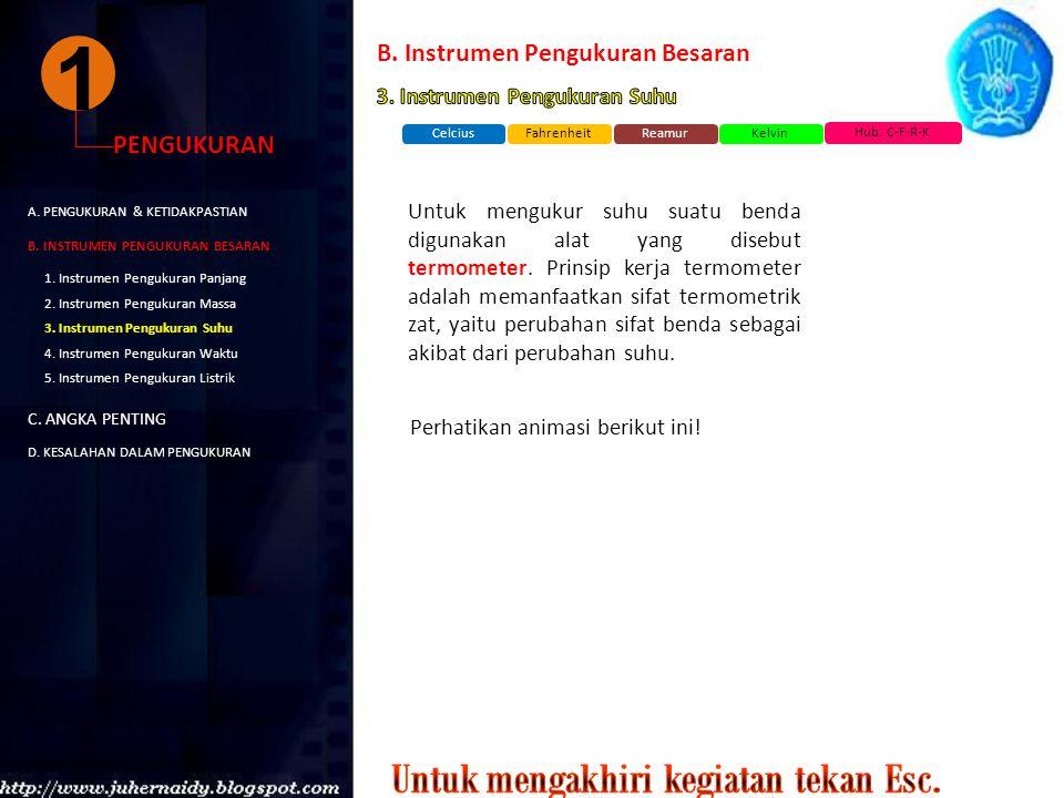 1 PENGUKURAN A. PENGUKURAN & KETIDAKPASTIAN B. INSTRUMEN PENGUKURAN BESARAN C. ANGKA PENTING D. KESALAHAN DALAM PENGUKURAN 1. Instrumen Pengukuran Pan