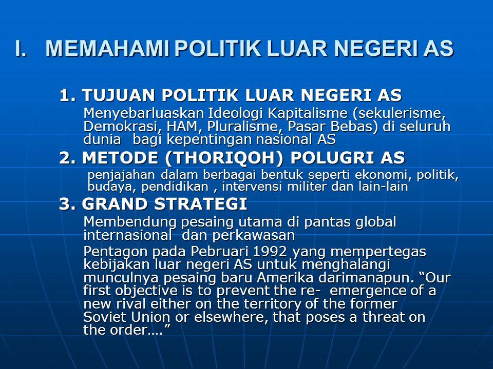 I. MEMAHAMI POLITIK LUAR NEGERI AS 1. TUJUAN POLITIK LUAR NEGERI AS Menyebarluaskan Ideologi Kapitalisme (sekulerisme, Demokrasi, HAM, Pluralisme, Pas