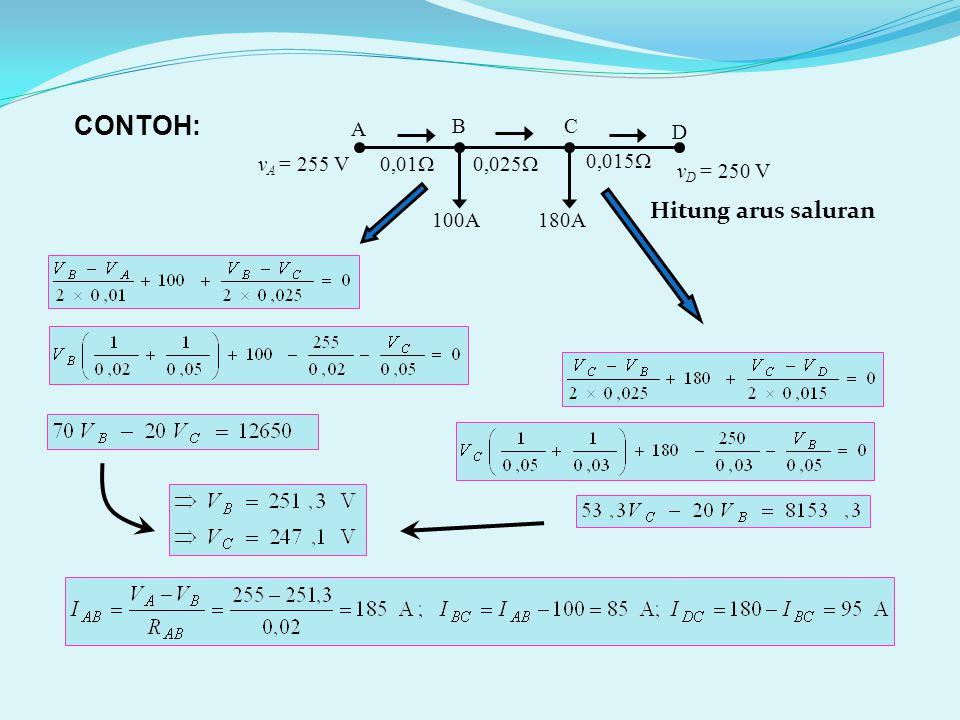 100A 0,01  0,025  0,015  A D BC 180A v D = 250 V v A = 255 V CONTOH: Hitung arus saluran
