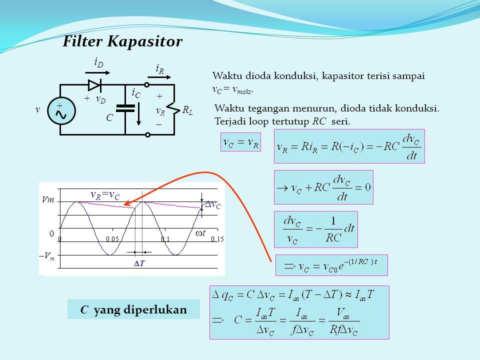 Filter Kapasitor Waktu dioda konduksi, kapasitor terisi sampai v C = v maks.