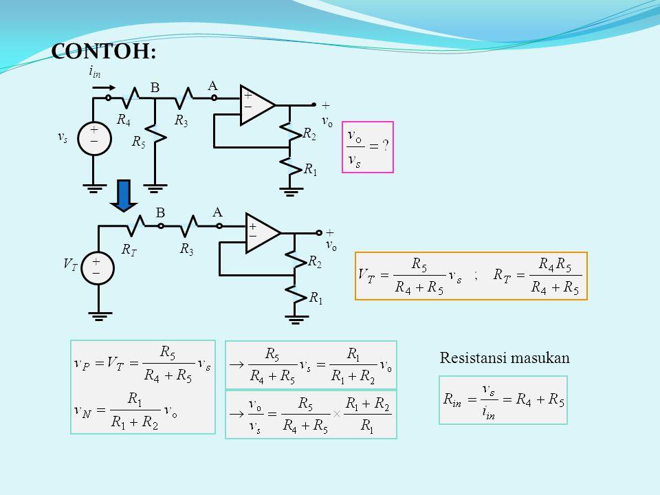 Resistansi masukan R2R2 ++ ++ + v o R1R1 R3R3 vsvs A i in R4R4 R5R5 B R2R2 ++ ++ +vo+vo R1R1 R3R3 VTVT A RTRT B CONTOH: