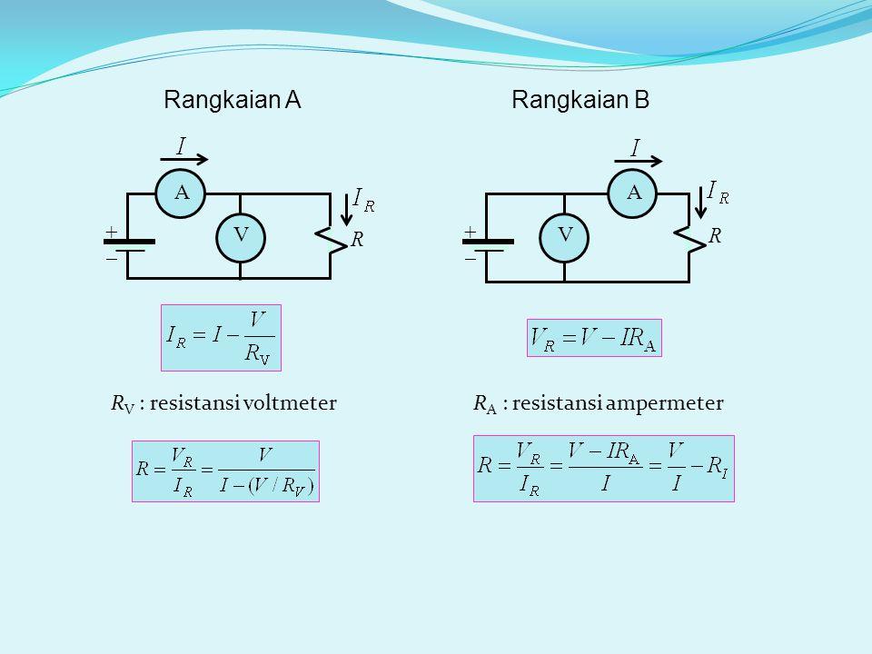 ++ A V R ++ A V R R V : resistansi voltmeter Rangkaian ARangkaian B R A : resistansi ampermeter