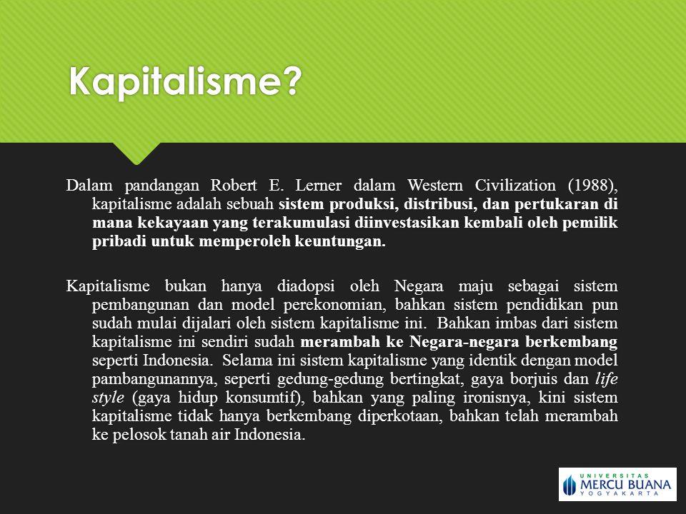 Dalam pandangan Robert E. Lerner dalam Western Civilization (1988), kapitalisme adalah sebuah sistem produksi, distribusi, dan pertukaran di mana keka