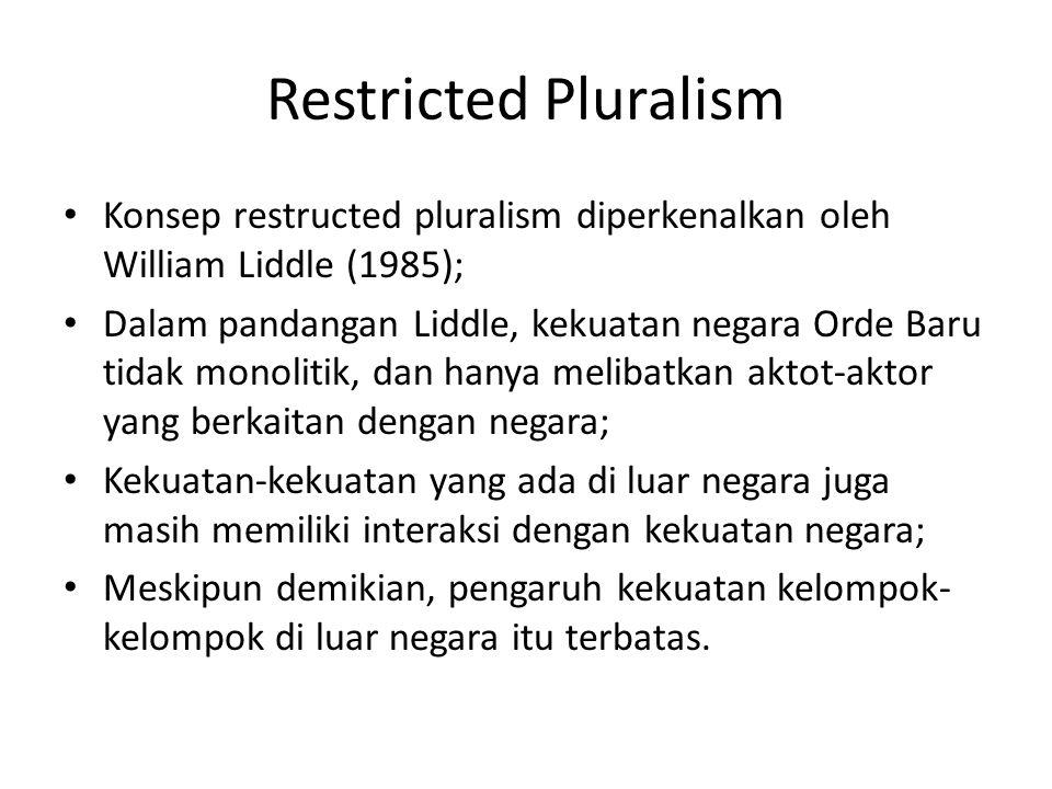 Restricted Pluralism Konsep restructed pluralism diperkenalkan oleh William Liddle (1985); Dalam pandangan Liddle, kekuatan negara Orde Baru tidak mon