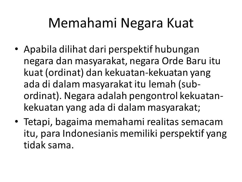 The State-Qua-State Benedict Anderson (1983) merupakan Indonesianis yang menempatkan negara sebagai aktor utama di dalam Orde Baru; Dia mencoba menganalisis kebijakan-kebijakan yang dibuat oleh Orde Baru; Negara memiliki kepentingan sendiri di dalam proses pembuatan kebijakan-kebijakan itu; Kepentingan-kepentingan negara tidak paralel dengan kepentingan-kepentingan yang ada di dalam masyarakat;