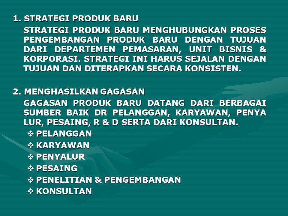 1. STRATEGI PRODUK BARU STRATEGI PRODUK BARU MENGHUBUNGKAN PROSES PENGEMBANGAN PRODUK BARU DENGAN TUJUAN DARI DEPARTEMEN PEMASARAN, UNIT BISNIS & KORP