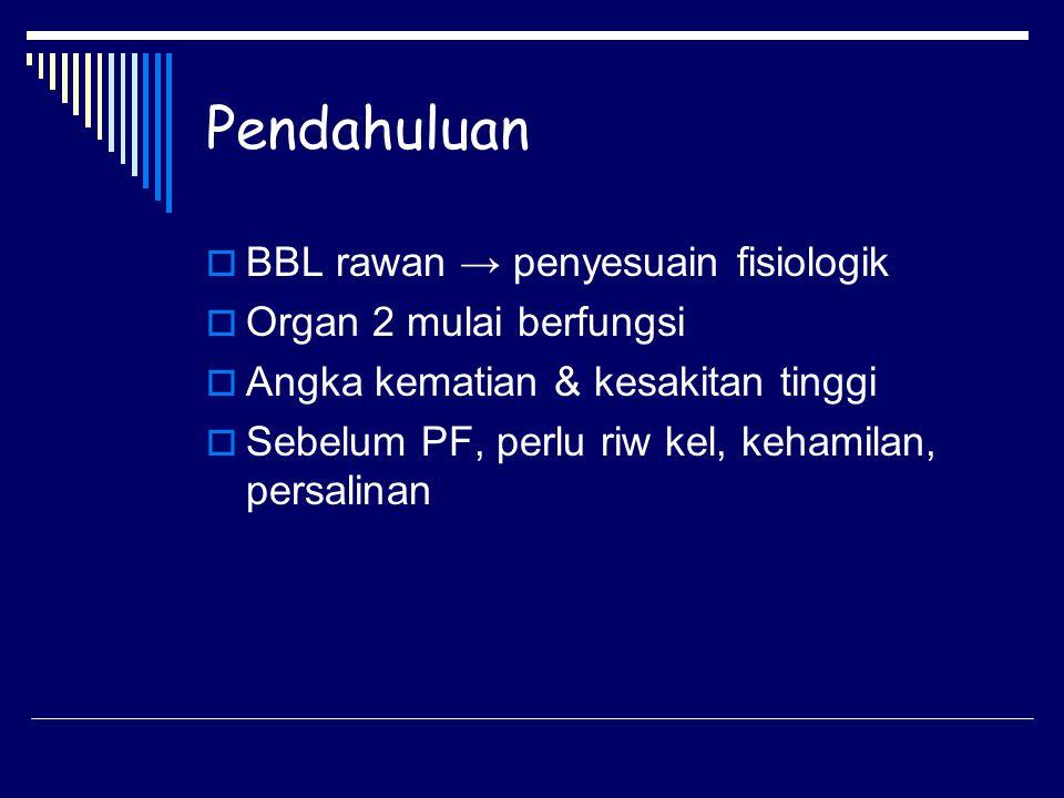 Pendahuluan  BBL rawan → penyesuain fisiologik  Organ 2 mulai berfungsi  Angka kematian & kesakitan tinggi  Sebelum PF, perlu riw kel, kehamilan,
