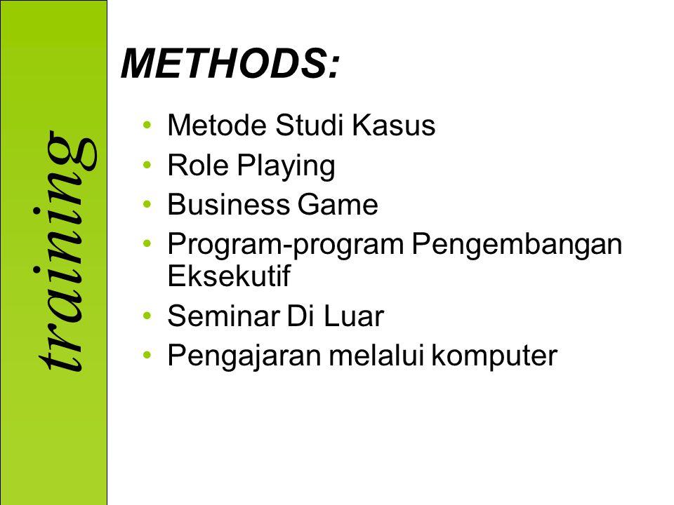 training Metode Studi Kasus Role Playing Business Game Program-program Pengembangan Eksekutif Seminar Di Luar Pengajaran melalui komputer METHODS: