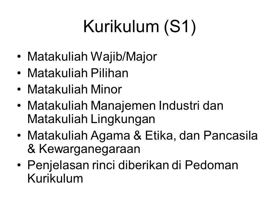 Kurikulum (S1) Matakuliah Wajib/Major Matakuliah Pilihan Matakuliah Minor Matakuliah Manajemen Industri dan Matakuliah Lingkungan Matakuliah Agama & Etika, dan Pancasila & Kewarganegaraan Penjelasan rinci diberikan di Pedoman Kurikulum