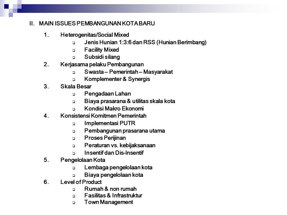 II. MAIN ISSUES PEMBANGUNAN KOTA BARU 1.Heterogenitas/Social Mixed  Jenis Hunian 1:3:6 dan RSS (Hunian Berimbang)  Facility Mixed  Subsidi silang 2
