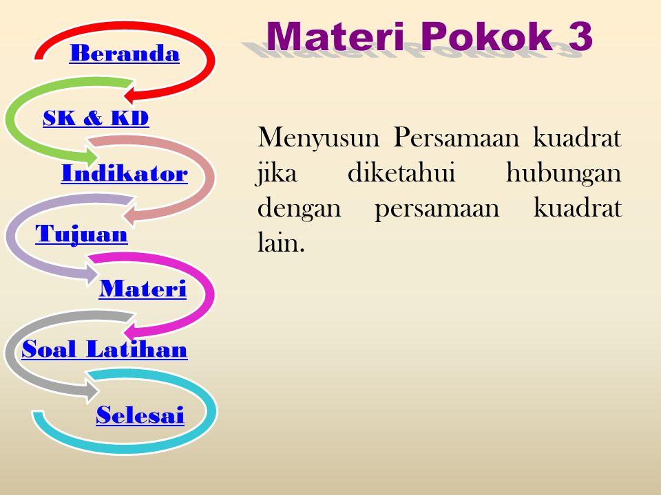 Menyusun Persamaan kuadrat jika diketahui hubungan dengan persamaan kuadrat lain. Beranda SK & KD Indikator Tujuan Materi Soal Latihan Selesai