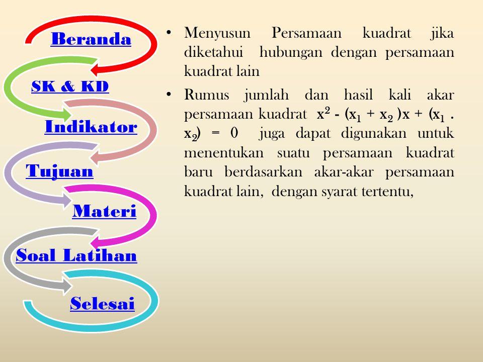 Menyusun Persamaan kuadrat jika diketahui hubungan dengan persamaan kuadrat lain Rumus jumlah dan hasil kali akar persamaan kuadrat x 2 - (x 1 + x 2 )
