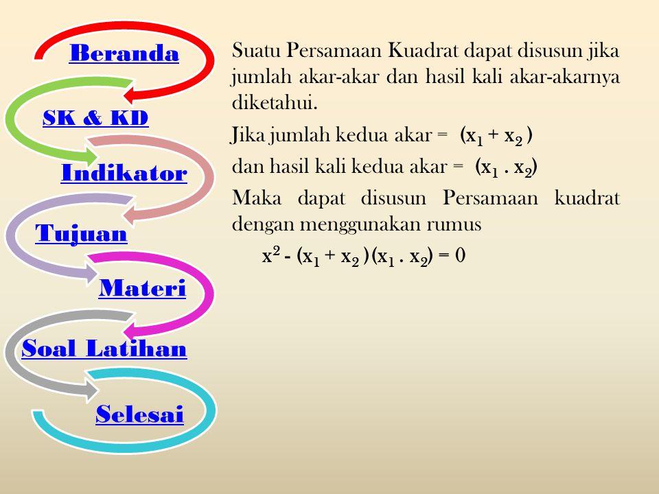 Suatu Persamaan Kuadrat dapat disusun jika jumlah akar-akar dan hasil kali akar-akarnya diketahui. Jika jumlah kedua akar = (x 1 + x 2 ) dan hasil kal