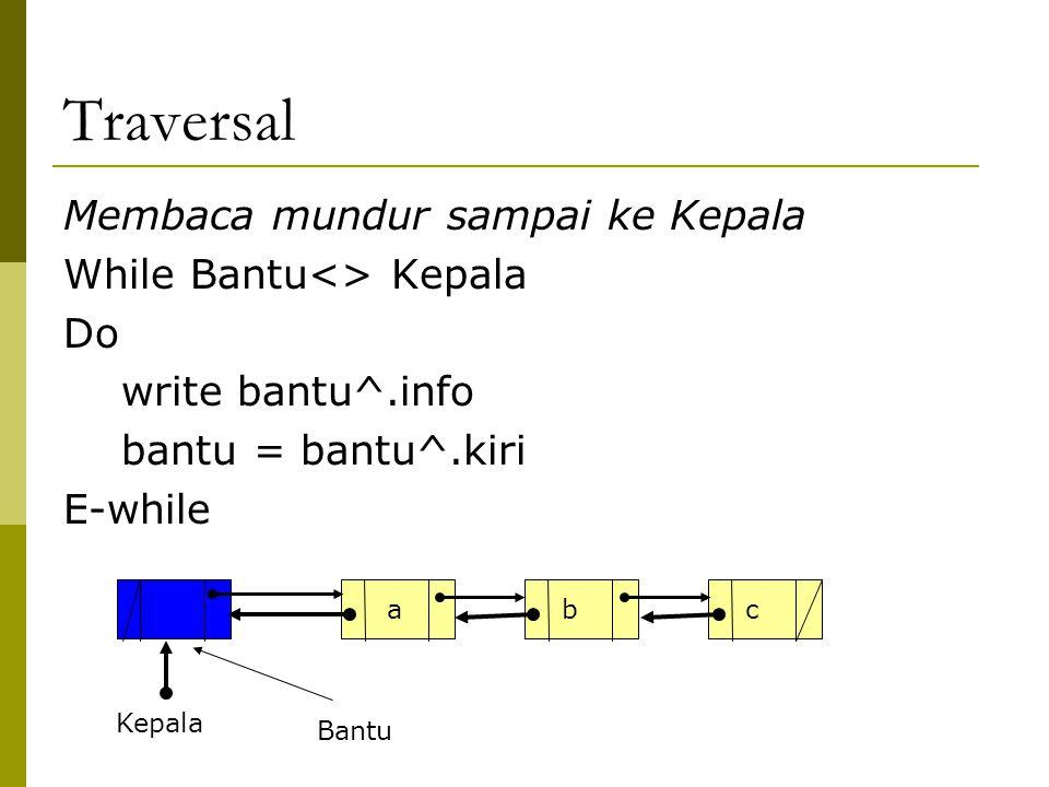 Traversal Membaca mundur sampai ke Kepala While Bantu<> Kepala Do write bantu^.info bantu = bantu^.kiri E-while Kepala abc Bantu