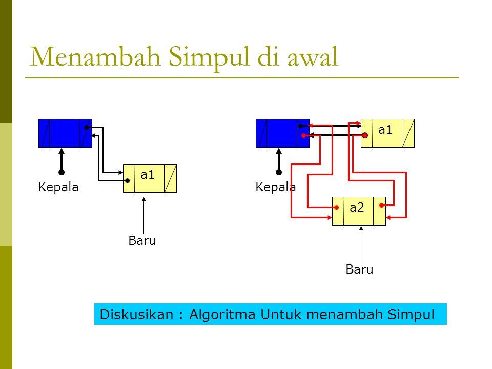 Procedure Tambah1(x:tipedata) New(baru) Baru^.info = x If kepala^.kanan = nil then Baru^.kanan = Kepala^.Kanan Baru^.Kiri = Kepala Kepala^.kanan = baru Else Baru^.kanan = Kepala^.Kanan Baru^.Kiri = Kepala Kepala^.kanan^.kiri = baru Kepala^.kanan = baru fi