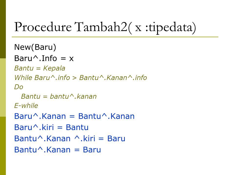 Procedure Tambah2( x :tipedata) New(Baru) Baru^.Info = x Bantu = Kepala While Baru^.info > Bantu^.Kanan^.info Do Bantu = bantu^.kanan E-while Baru^.Kanan = Bantu^.Kanan Baru^.kiri = Bantu Bantu^.Kanan ^.kiri = Baru Bantu^.Kanan = Baru