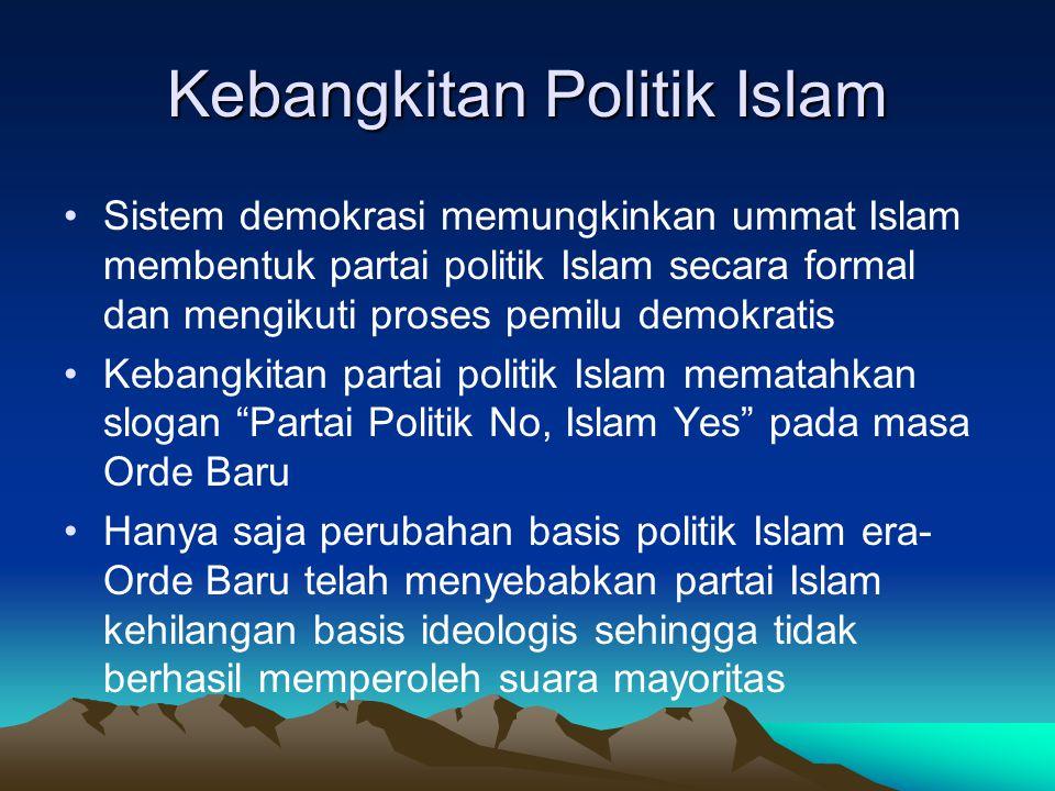 Kebangkitan Politik Islam Sistem demokrasi memungkinkan ummat Islam membentuk partai politik Islam secara formal dan mengikuti proses pemilu demokrati