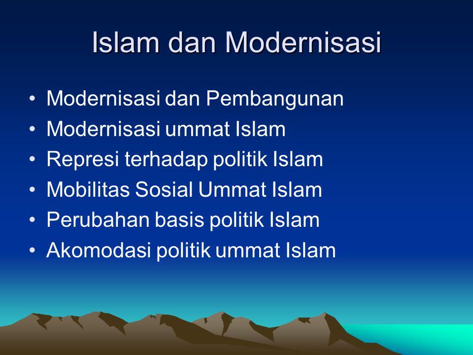 Islam dan Modernisasi Modernisasi dan Pembangunan Modernisasi ummat Islam Represi terhadap politik Islam Mobilitas Sosial Ummat Islam Perubahan basis
