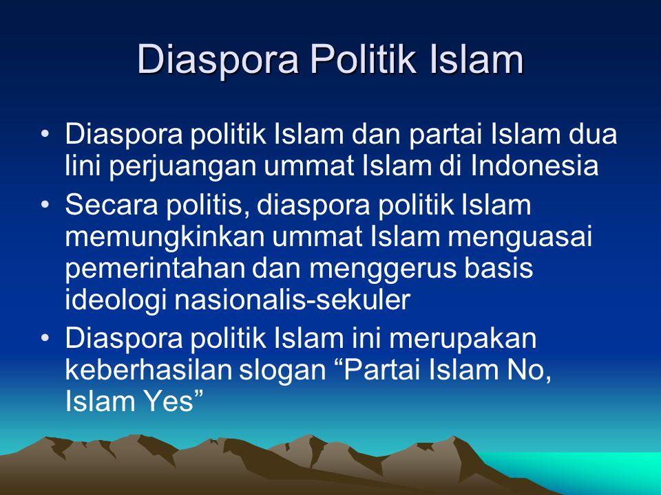 Diaspora Politik Islam Diaspora politik Islam dan partai Islam dua lini perjuangan ummat Islam di Indonesia Secara politis, diaspora politik Islam mem