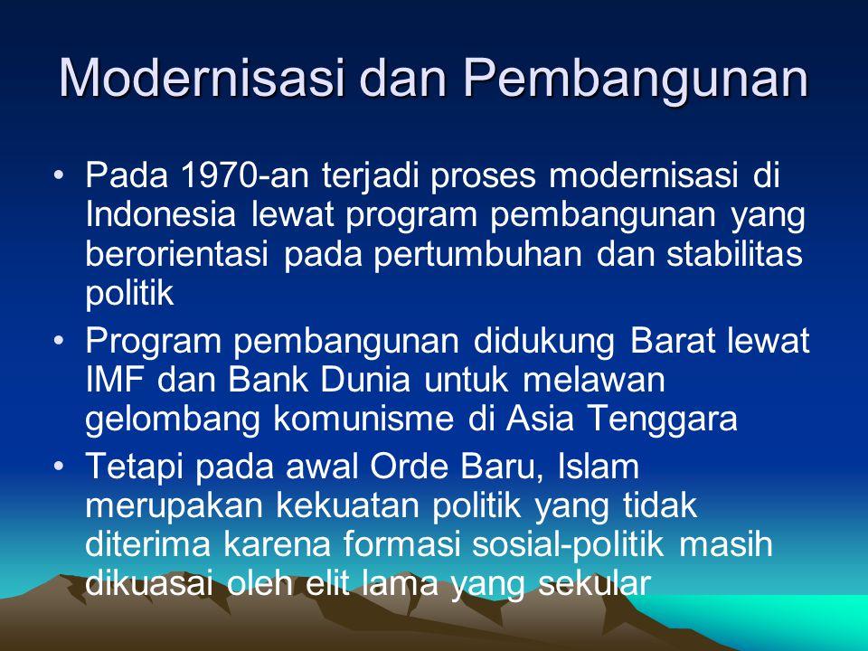 Modernisasi dan Pembangunan Pada 1970-an terjadi proses modernisasi di Indonesia lewat program pembangunan yang berorientasi pada pertumbuhan dan stab
