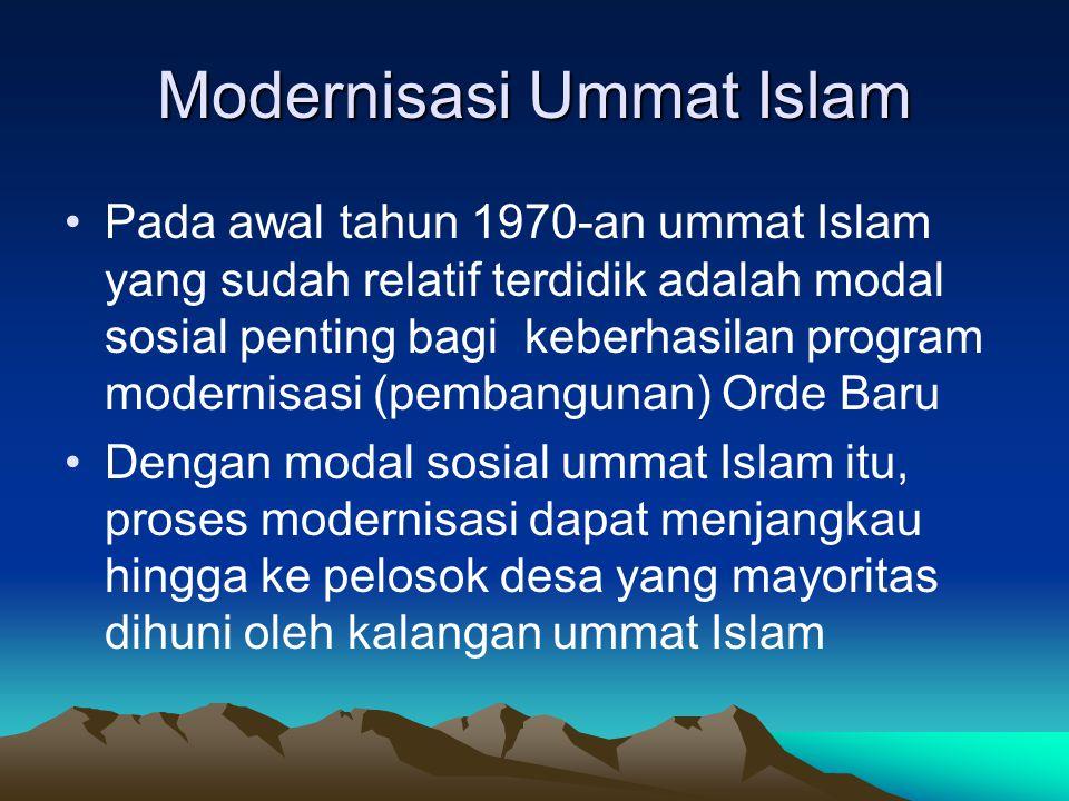Modernisasi Ummat Islam Pada awal tahun 1970-an ummat Islam yang sudah relatif terdidik adalah modal sosial penting bagi keberhasilan program modernis