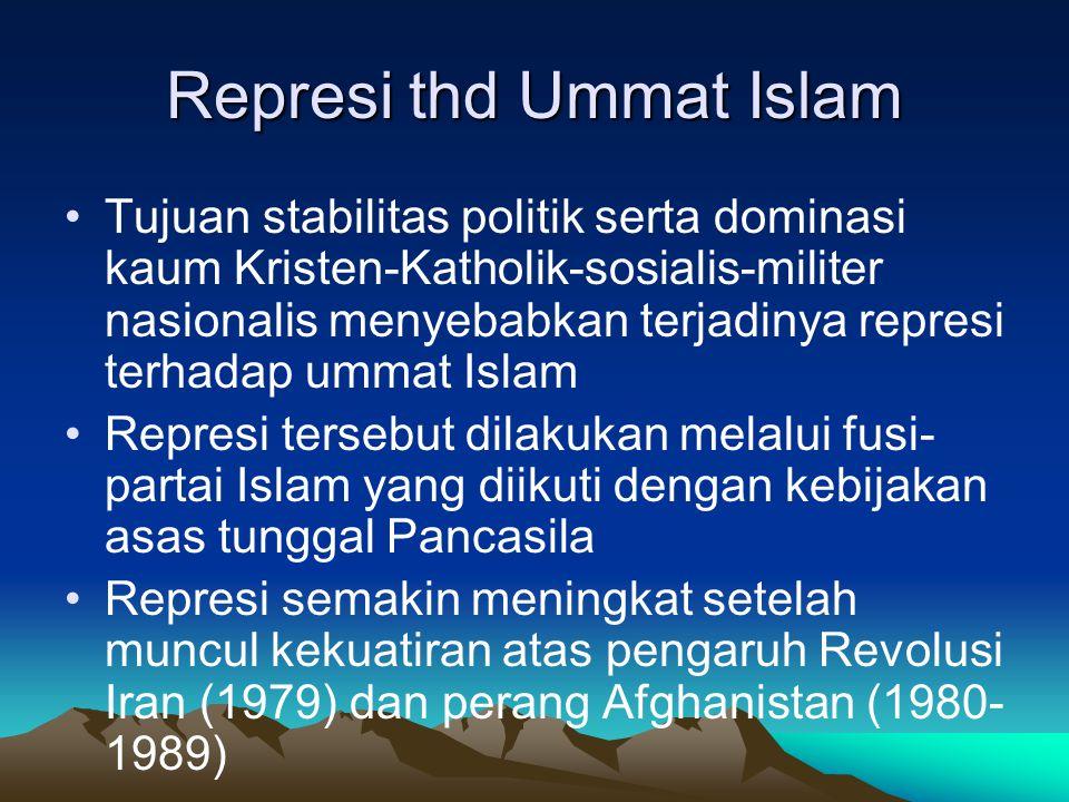 Represi thd Ummat Islam Tujuan stabilitas politik serta dominasi kaum Kristen-Katholik-sosialis-militer nasionalis menyebabkan terjadinya represi terh