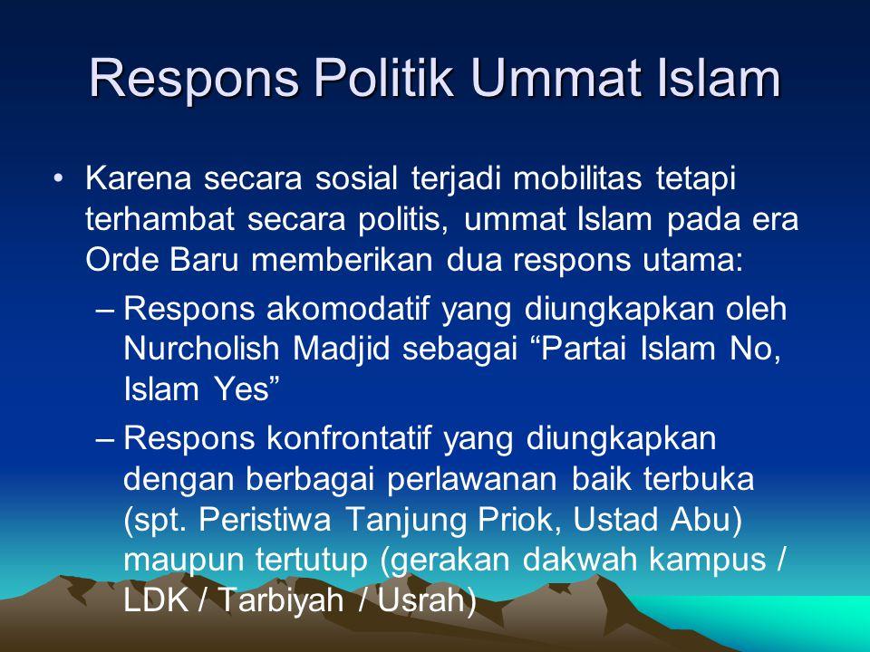 Respons Politik Ummat Islam Karena secara sosial terjadi mobilitas tetapi terhambat secara politis, ummat Islam pada era Orde Baru memberikan dua resp