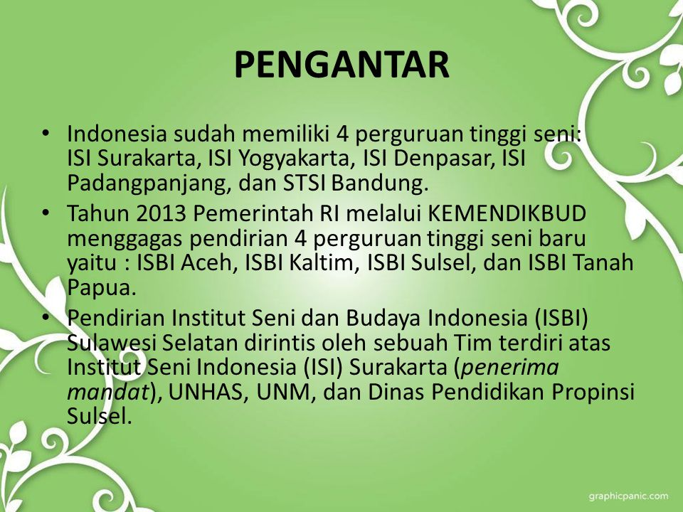 LEGALITAS Peraturan Presiden RI Nomor 77 Tahun 2006, tentang Perubahan STSI Menjadi ISI Surakarta.