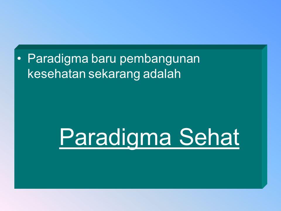 Paradigma baru pembangunan kesehatan sekarang adalah Paradigma Sehat
