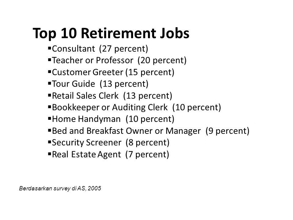 Top 10 Retirement Jobs  Consultant (27 percent)  Teacher or Professor (20 percent)  Customer Greeter (15 percent)  Tour Guide (13 percent)  Retai