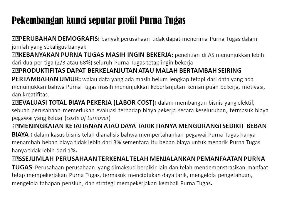 Pekembangan kunci seputar profil Purna Tugas PERUBAHAN DEMOGRAFIS: banyak perusahaan tidak dapat menerima Purna Tugas dalam jumlah yang sekaligus bany