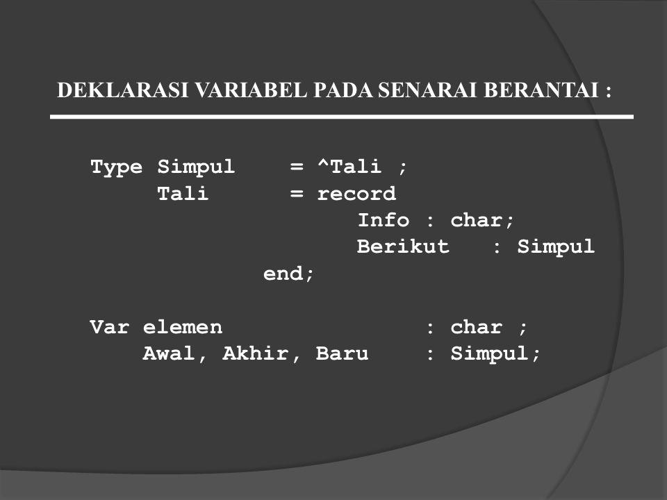 TypeSimpul= ^Tali ; Tali= record Info: char; Berikut: Simpul end; Var elemen: char ; Awal, Akhir, Baru: Simpul; DEKLARASI VARIABEL PADA SENARAI BERANT