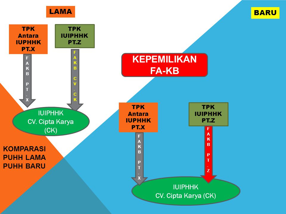 KOMPARASI PUHH LAMA PUHH BARU LAMA BARU KEPEMILIKAN FA-KB TPK Antara IUPHHK PT.X TPK IUIPHHK PT.Z FAKBPT.XFAKBPT.X FAKBCV.CKFAKBCV.CK IUIPHHK CV.