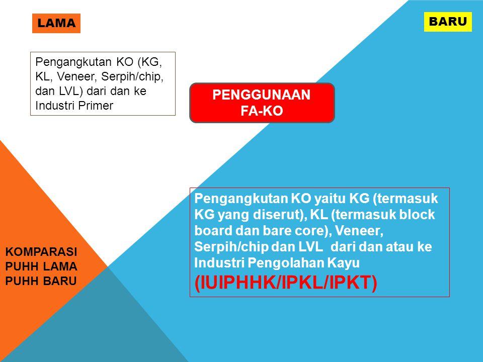 KOMPARASI PUHH LAMA PUHH BARU LAMA BARU PENGGUNAAN FA-KO Pengangkutan KO yaitu KG (termasuk KG yang diserut), KL (termasuk block board dan bare core), Veneer, Serpih/chip dan LVL dari dan atau ke Industri Pengolahan Kayu (IUIPHHK/IPKL/IPKT) Pengangkutan KO (KG, KL, Veneer, Serpih/chip, dan LVL) dari dan ke Industri Primer