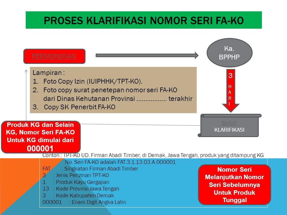 PROSES KLARIFIKASI NOMOR SERI FA-KO PERMOHONAN Lampiran : 1.Foto Copy Izin (IUIPHHK/TPT-KO).