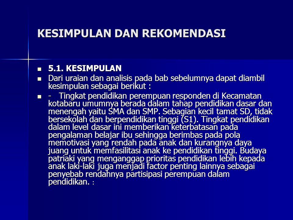 KESIMPULAN DAN REKOMENDASI 5.1. KESIMPULAN 5.1. KESIMPULAN Dari uraian dan analisis pada bab sebelumnya dapat diambil kesimpulan sebagai berikut : Dar