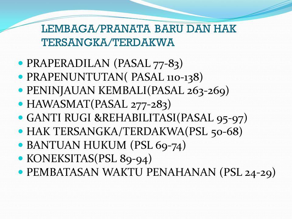 LEMBAGA/PRANATA BARU DAN HAK TERSANGKA/TERDAKWA PRAPERADILAN (PASAL 77-83) PRAPENUNTUTAN( PASAL 110-138) PENINJAUAN KEMBALI(PASAL 263-269) HAWASMAT(PA