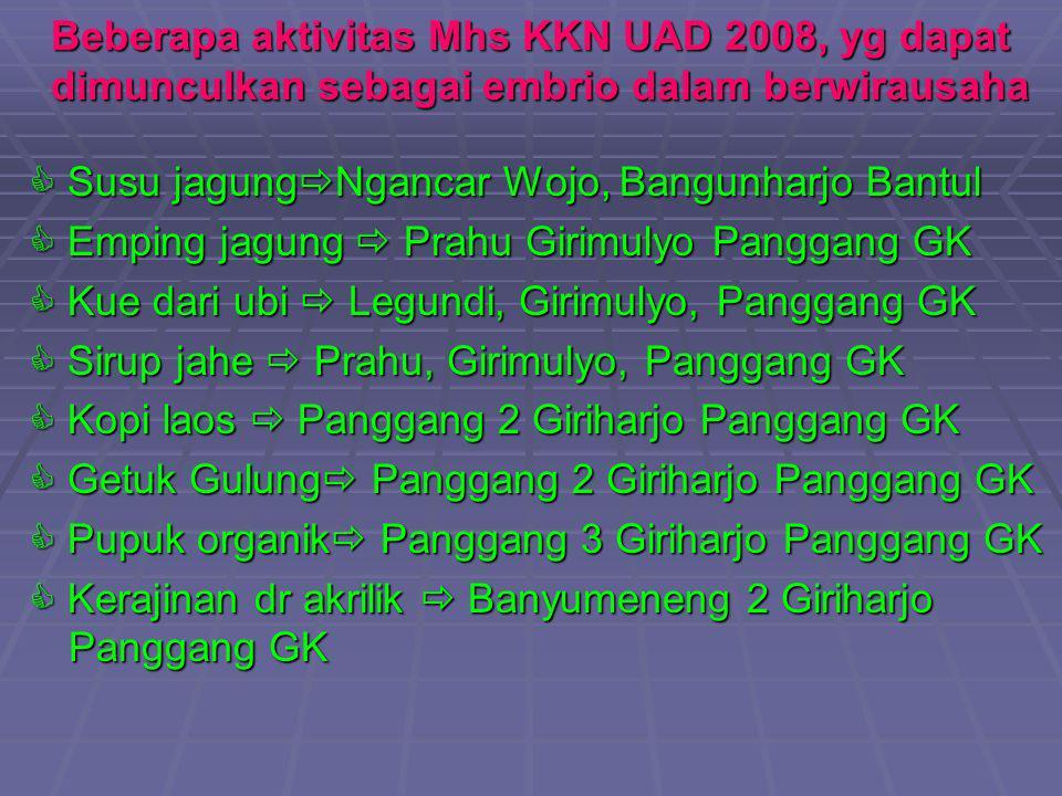 Beberapa aktivitas Mhs KKN UAD 2008, yg dapat dimunculkan sebagai embrio dalam berwirausaha  Susu jagung  Ngancar Wojo, Bangunharjo Bantul  Emping