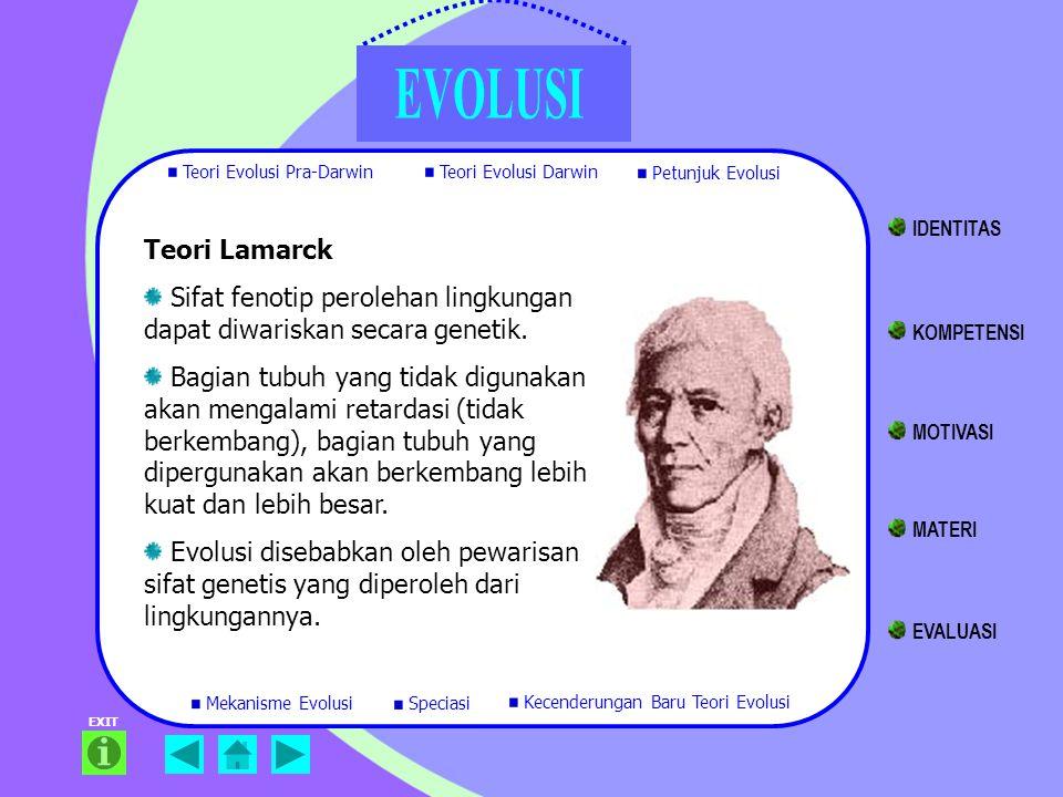 Teori Lamarck Sifat fenotip perolehan lingkungan dapat diwariskan secara genetik. Bagian tubuh yang tidak digunakan akan mengalami retardasi (tidak be